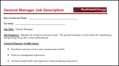 Bar general manager job description