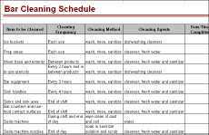 Bar Cleaning Schedule