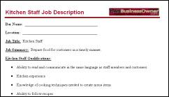 kitchen staff job description - Food Preparer Job Description