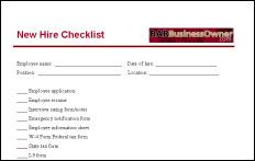 new hire check list