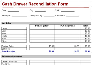 Bar Cash Drawer Reconciliation Form