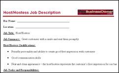 BAR HOSTESS JOB DESCRIPTION