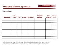 employee uniform agreement form Employee Uniform Agreement